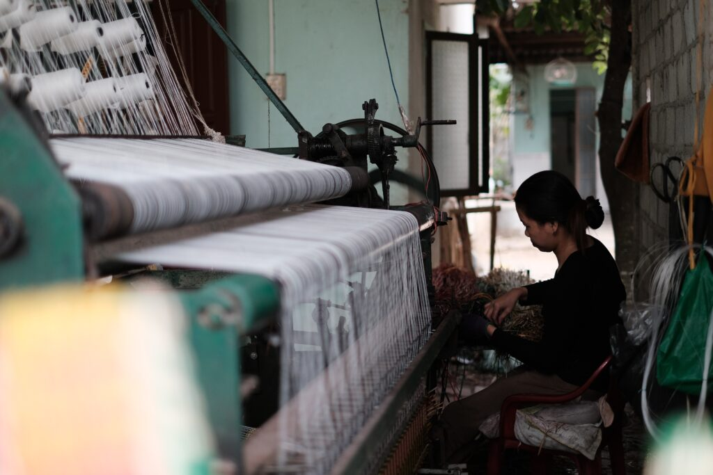 working on fabric